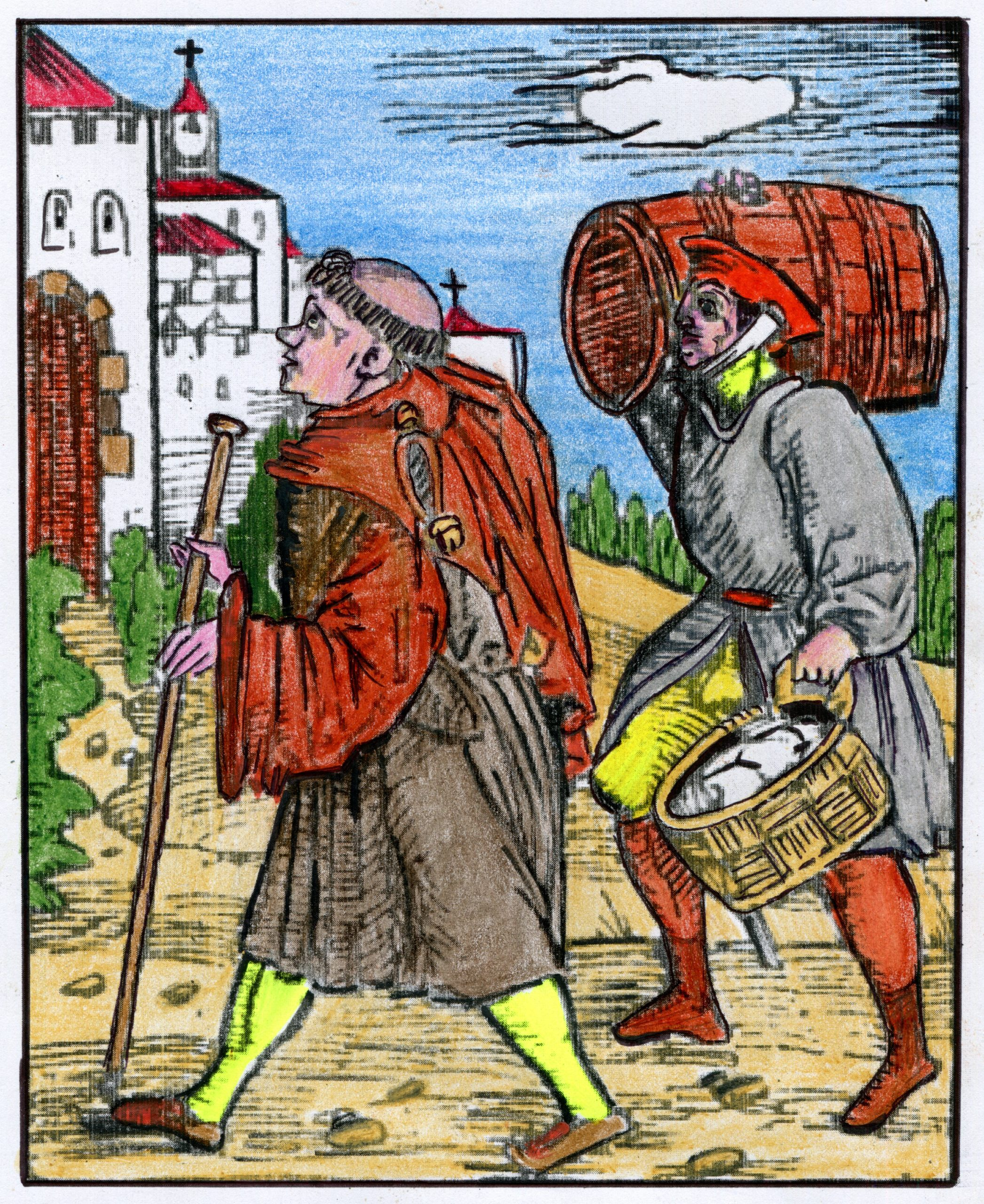 Peasant (following a monk) brings tribute to the monastery